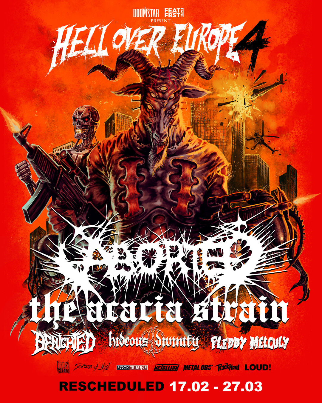 """Aborted """"Hell Over Europe 4"""" featuring special guest; The Acacia Strain,  Benighted, Hideous Divinity and Fleddy Melculy! - DOOMSTAR BOOKINGS"""